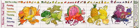Slim Learning Charts Rainbow Food Chart