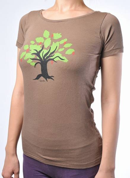 T-shirt Yoga-träd ORGANIC Brown Gandhi Destiny Yoga Tee