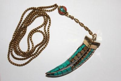 Turquoise Tibetan Tusk Halsband