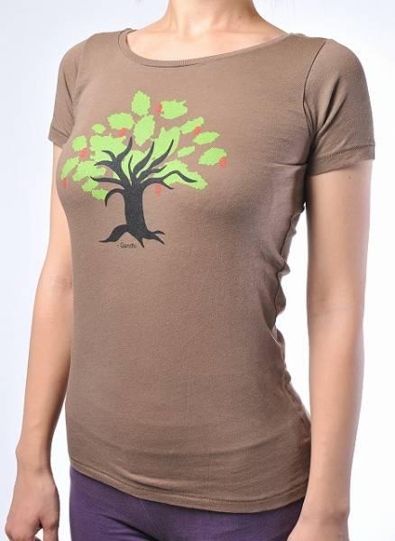 T-shirt Yoga-träd ORGANIC Brown Gandhi Destiny Yoga Tee